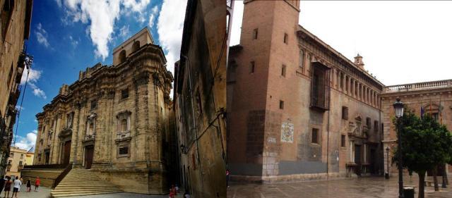 Basílica-Catedral de Santa María de Tortosa (izquierda) y Real Colegio del Corpus Christi o Iglesia del Patriarca en Valencia, ambos lugares donde ejerció su labor musical Francisco Peñarroja